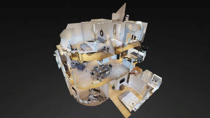 Bild eine Matterport 3D Modell eines Ferienhauses in Wenningstedt auf Sylt. Matterport Technologie auf Sylt angewendet für eine virtuelle Tour durch ein Ferienhaus